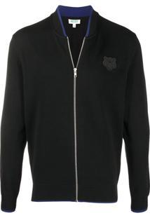 Kenzo Zip-Through Knitted Bomber Jacket - Preto