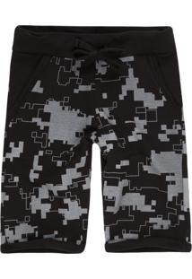 Bermuda Masculina Moletom Camuflada Pixel Preto