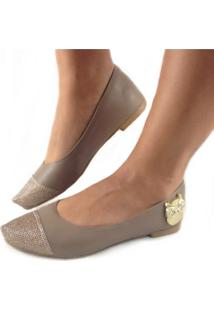 Sapatilha Likka Calçados Bico Fino Dourado Detalhe Coruja