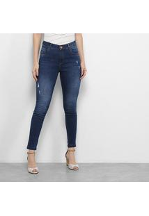 Calça Jeans Zune Estonada Puídos Cintura Média Feminina - Feminino-Azul