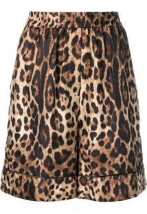 Dolce & Gabbana Saia De Seda Com Animal Print - Marrom