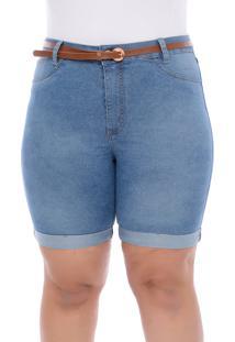 Bermuda Jeans Cambos Azul Com Cinto-58 - Azul - Feminino - Dafiti