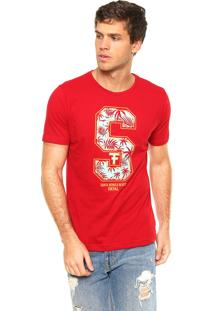 Camiseta Fatal Surf Santa Monica Beach Vermelha