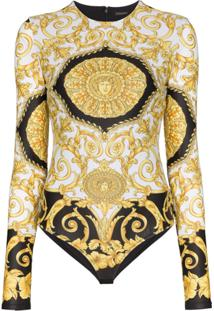 Versace Baroque Printed Fitted Bodysuit - Preto
