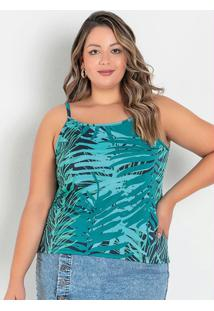 Blusa Folhagem Verde De Alças Plus Size