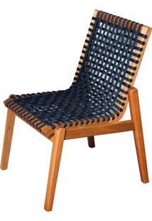 Cadeira Trama Corda Preta Com Estrutura Madeira Cor Stain Jatoba - 53172 - Sun House