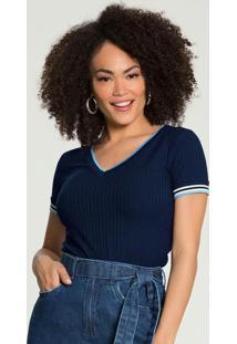 Blusa Canelada Decote V Azul