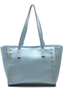 Bolsa Shopper D&R Shoes Tachas Feminina - Feminino-Azul Claro