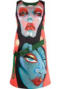 Charles Jeffrey Loverboy Graphic Face-Print Shift Dress - Vermelho