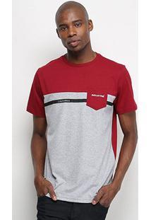 Camiseta Industrie Bicolor C/ Bolso Masculina - Masculino-Bordô