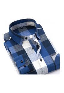 Camisa Xadrez Masculina Slim Fit Alabama - Cinza E Azul