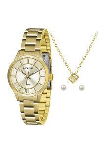Kit De Relógio Analógico Lince Feminino + Brinco + Colar -Lrgh072L Ku33C1Kx Dourado