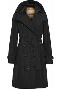 Burberry Trench Coat Com Capuz Removível - Black