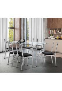 Conjunto De Mesa De Cozinha Com 6 Cadeiras Virtus Preto