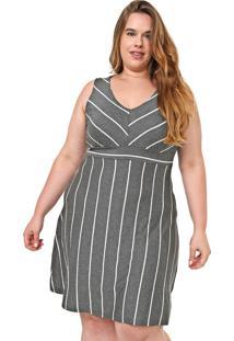 Vestido Lunender Mais Mulher Plus Curto Listrado Cinza/Branco