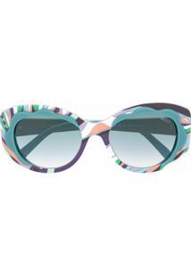 Emilio Pucci Óculos De Sol Estampado - Azul