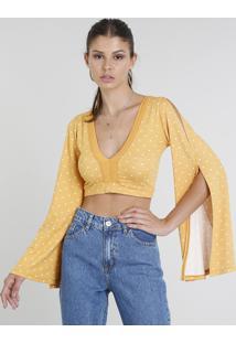 Blusa Feminina Cropped Estampada De Poá Manga Longa Decote V Mostarda