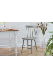 Cadeira Para Sala De Jantar Folk Laqueada Cinza Concreto 45X46X83Cm