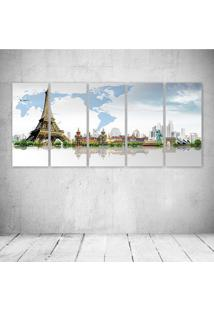 Quadro Decorativo - France Eiffel Tower Paris Cities - Composto De 5 Quadros