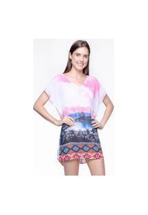 Blusa 101 Resort Wear Saida De Praia Estampada Crepe Decote V Paisagem Rosa