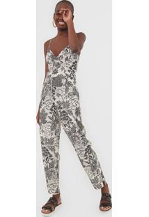 Macacão Dress To Slim Oca Off-White/Preto - Kanui