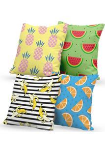 Kit 4 Capas De Almofadas Decorativas Own Abacaxi Melancia Banana Laranja 45X45 - Somente Capa