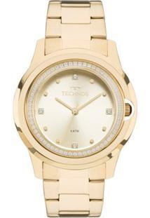 Relógio Feminino Technos Crystal 2035Mlh/4X Pulseira Aço Dourada - Feminino-Dourado