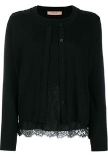 Twin-Set Lace Cardigan Top - Preto