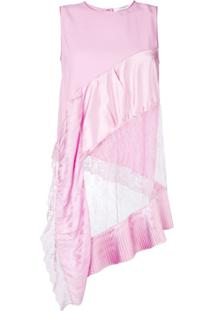 Givenchy Blusa Assimétrica Com Renda - Rosa
