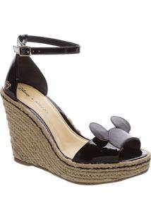 Sandália Plataforma Mickey- Pretaarezzo & Co.