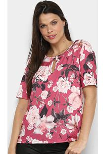 Camiseta Lança Perfume Estampada Recorte Feminina - Feminino-Rosa