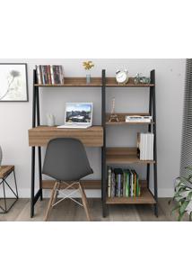 Kit Escritório Trend Office Bliv Completo Com Estante 4 Prateleiras E Mesa Com Gaveta Castanho E Preto