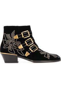 Chloé Ankle Boot Com Fivelas - Preto