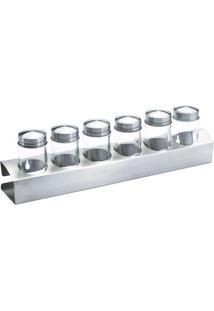 Jogo De Porta Condimentos- Inox & Incolor- 7Pçs-Rojemac