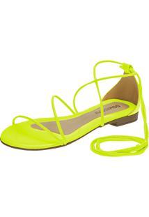 Sandália Feminina Rasteira Domidona Fluorescente Gladiadora Amarração Amarelo Neon