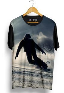 Camiseta Dep Homem Esquiando Azul