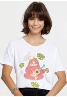Blusa Feminina Cropped Estampa Frontal Marisa