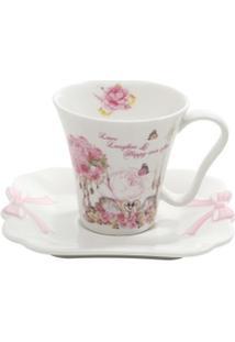 Conjunto 6 Xícaras De Café De Porcelana 100Ml Wedding - Unissex