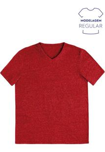 Camiseta Masculina Básica Em Malha Molinê De Algodão Com Decote V