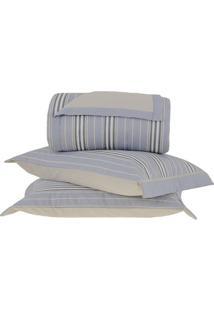 Conjunto De Colcha Bresson King Size- Azul & Bege- 3Buddemeyer