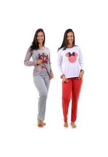 2 Pijama Isa Lingerie Longo Fechado Minie E Princesa Cores Sortidas