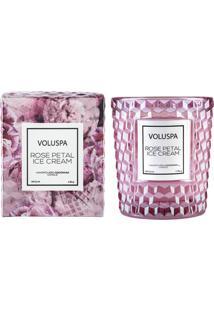 Vela Rose Petal Ice Cream Roses Collection Copo Texturizado 3D 40 Horas Voluspa
