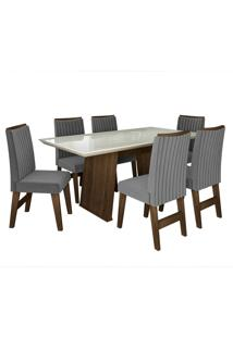 Conjunto De Mesa Para Sala De Jantar Com Tampo De Vidro E 6 Cadeiras Vigo -Dobuê Movelaria - Castanho / Branco Off / Grafite Bord