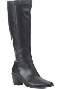 Bota Couro Shoestock Cano Longo Feminina - Feminino-Preto