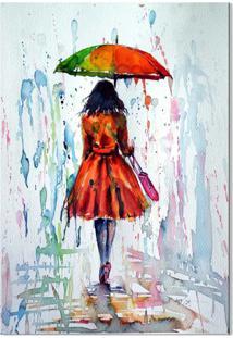 Quadro Decorativo Mulher Na Chuva Colorida - Multicolorido - Dafiti