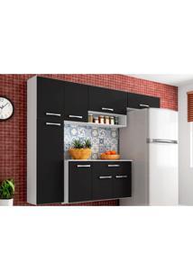 Cozinha Compacta Suspensa Com Balcão Anita 08 Portas Preto - Poquema