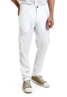 Calça John John Skinny Munster Sarja Branco Masculina Cc Skinny Munter-Branco-42
