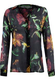 Camisa Kika Simonsen Seda Floral Preta