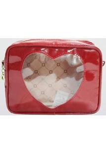 Necessaire Coração Slc Le Postiche Vermelha Feminina - Feminino-Vermelho