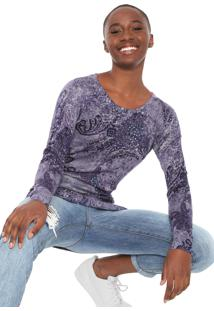 Suéter Desigual Tricot Galaxy Roxo